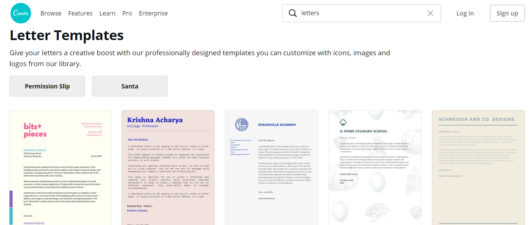 Canva letter templates as one of recommended tools for startups
