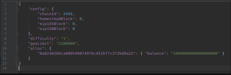 definition stored in the genesis.json file