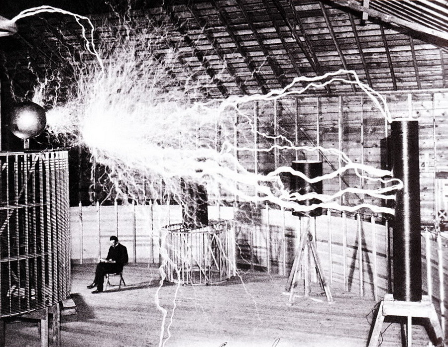 Nikola Tesla at laboratory
