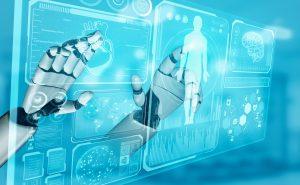 AI robot working in future hospital. Futuristic vision of medical imaging diagnostics