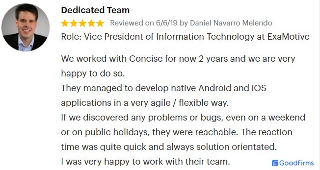 GoodFirms screenshot: Concise Software review on site