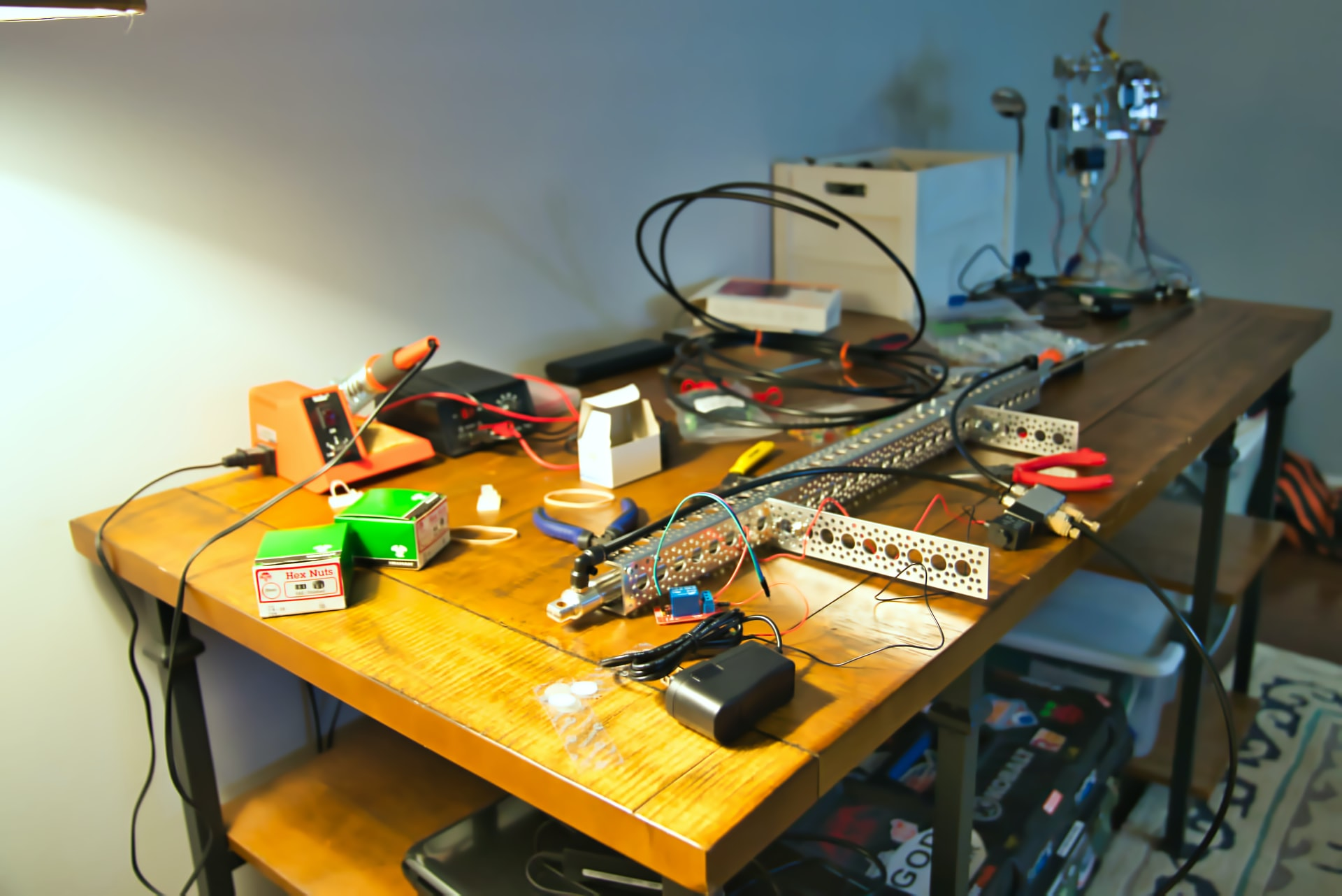 Table with electronics which are being used for making a prototype of an IoT solution