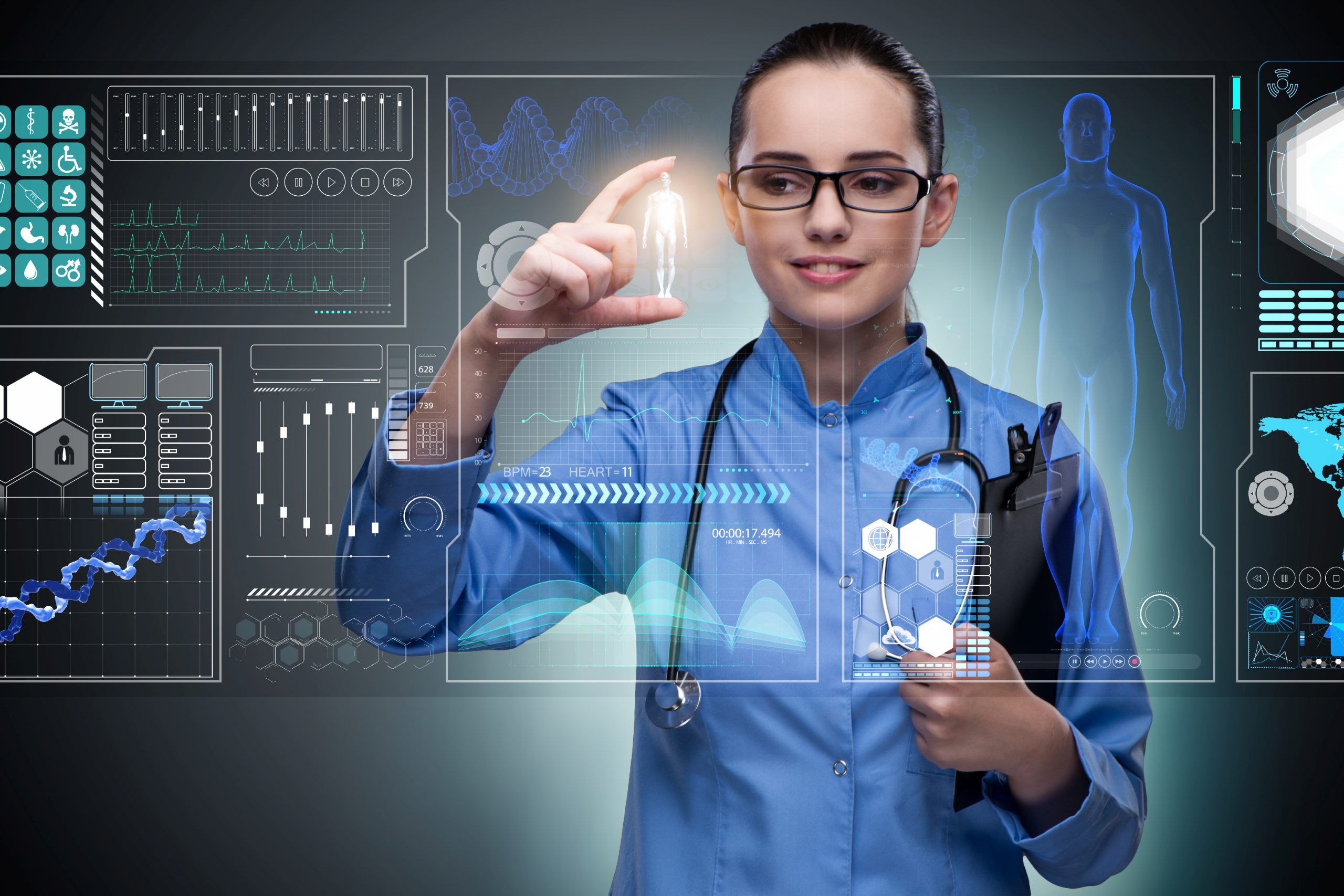 Predictive analytics in healthcare enables to make more informed decisions. Doctor in futuristic medical concept pressing button