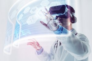 Virtual reality in healthcare; a doctor is using VR headset to do some research