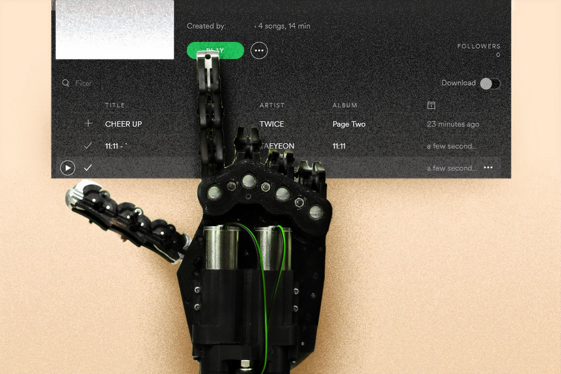 Spotify SPA - pressing a green button with the robot's hand
